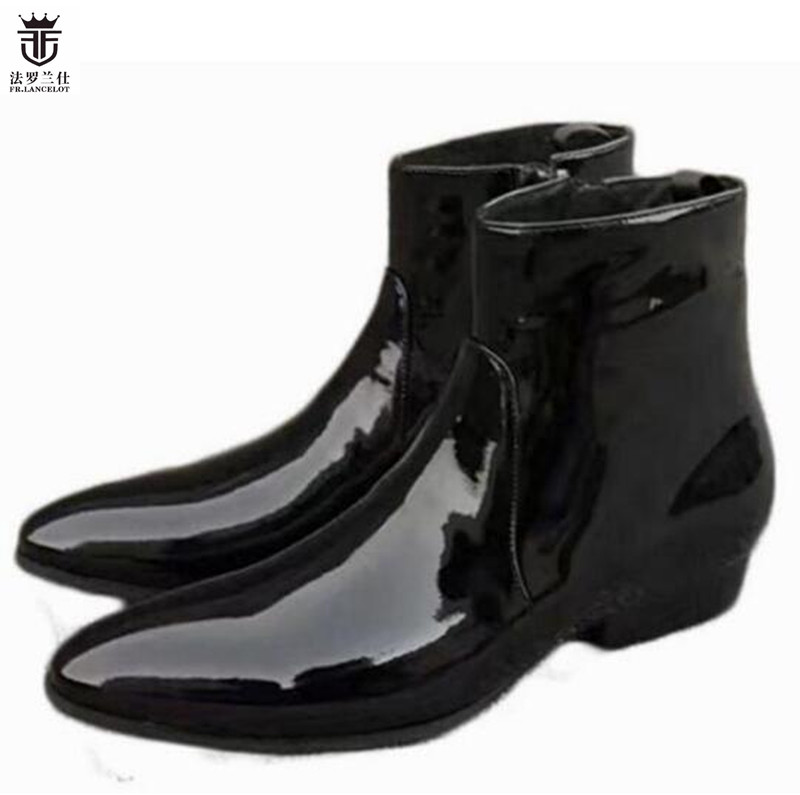 2018 FR.LANCELOT Luxury Brand Black Patent Leather Top Quality Chelsea Boots Men Ankle Short Boots Side Zipper Men Shoes northmarch luxury brand men shoes for winter basic ankle boots genuine leather men s chelsea boots black botas moto hombre