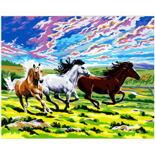 Horses Running on Grassland Hand Made Paint High Quality Canvas Beautiful Painting By Numbers Surprise Gift Great Accomplishment(China)