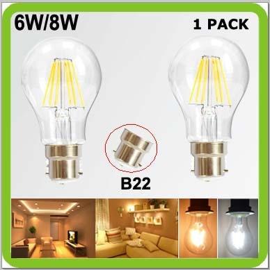 Top quality 1 piece 6W or 8W LED filament bulbs B22 clear glass cover 360 degree a60 a19 bayonet COB led retro edision bulbs доска для объявлений dz 1 2 j8b [6 ] jndx 8 s b