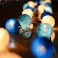 Multicolorido 3 m 20 pces 6cm leds alimentado por bateria quente led bola de algodão luz da corda luz de fadas para decorações de árvore de natal indoor
