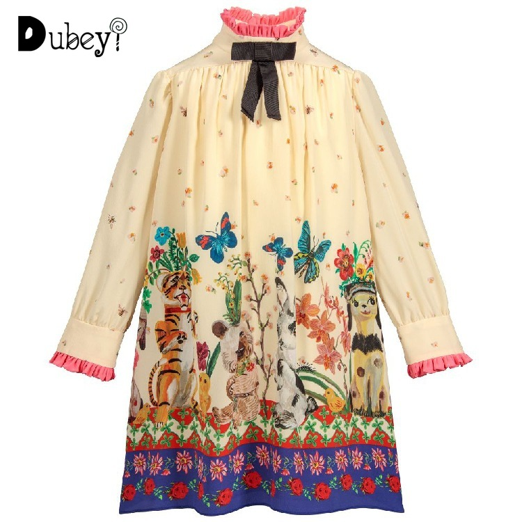 autumn and winter baby girl elastic chiffon new printing good friend series dress children girl loose