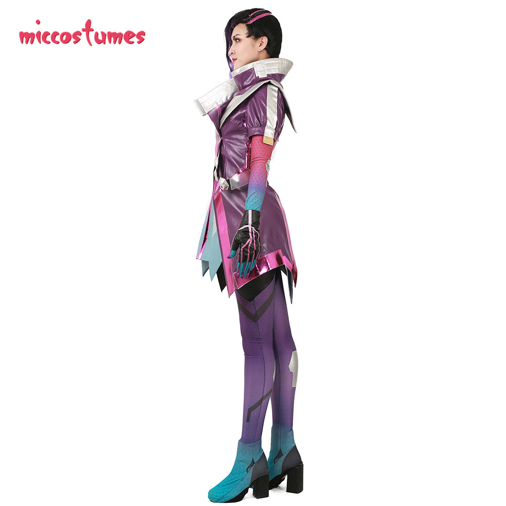 Sombra Cosplay Costume Women Purple Clothing Jumpsuit Coat