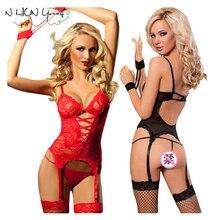 Lingerie Sexy Hot Mulheres Lingerie de Renda Transparente Algema + G-Corda + Ligas Brinquedos Sexuais Lingerie Erótica Trajes Sexy SY004