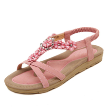 2019 New Summer Shoes Sweet Womens Flowers Flat Sandals High Quality Rhinestones Casual Flats Plus Size 35-42