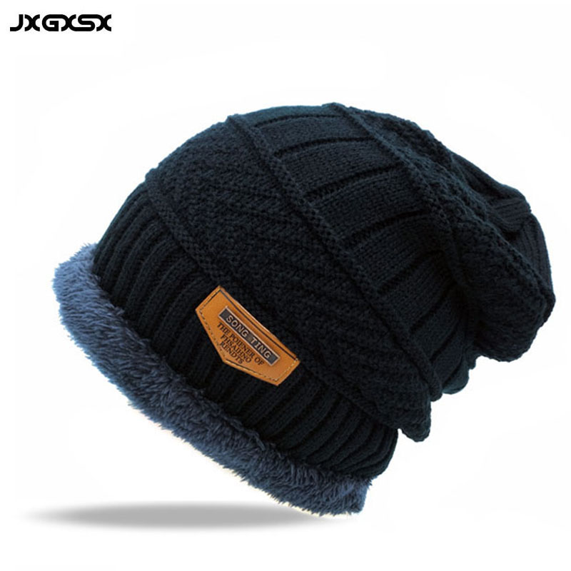 JXGXSX Fashion Winter Ski Cap Knitted Hats Beanies Knit Skullies Bonnet Hats For Men Women Beanie Fur Warm Wool Hat Plus Fur men s skullies winter gorros ski wool warm knitted cap beanie headgear hat nap skullies bonnet beanies cap hats for women gorro