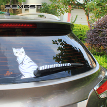 BEMOST 2 Styles Car Styling Cartoon Smlie&Melancholy Cat Moving Tail Stickers Reflective Animals Window Wiper Decals