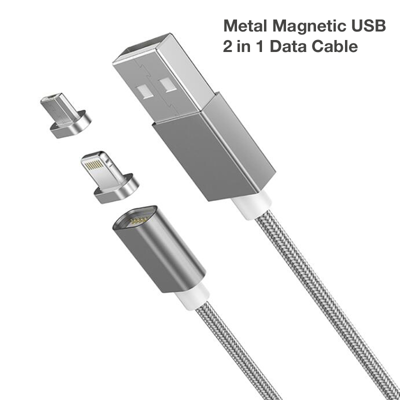 2 In 1 Magnetic Nylon Braided Lightning Charging Cable For Iphone Xiaomi Nokia ASUS LG Android Phones Magnetic Fast Charge Cable in Data Cables from Consumer Electronics