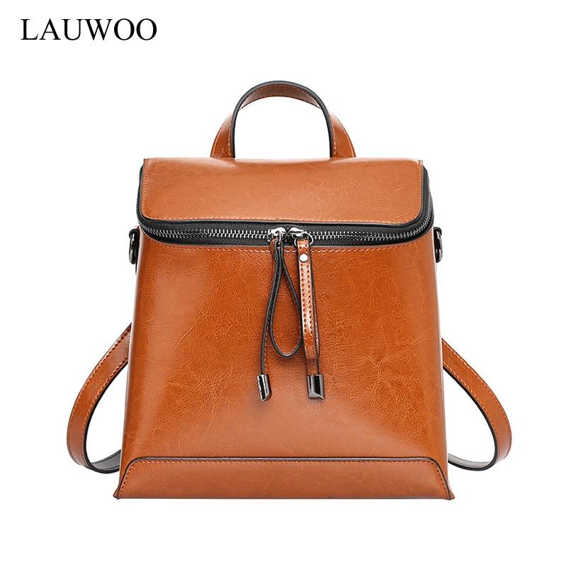 LAUWOO brand lateset women backpack vintage cow leather backpack school bags for girls female real cowskin shoulder bag