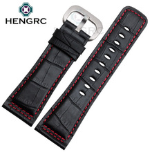 HENGRC Watchbands 28mm Genuine Leather Black Brown Watch Strap Stainless Steel Silver Black Pin Buckle Accessories стоимость
