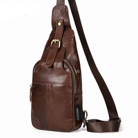 DOYUTIG Men S Brown Genuine Leather Anti Theft USB Rechargeable Crossbody Bag Fashion Cow Leather Male