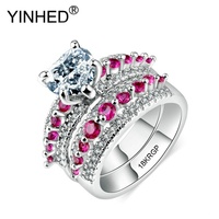 YINHED Romantic Love Heart Crystal Brand Ring Set Gold Filled Rings White/Red Cubic Zirconia For Women Wedding Jewelry ZYG024