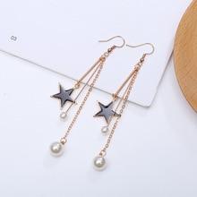 Japanese and Korean black star temperament personality pearl long earrings female ornaments