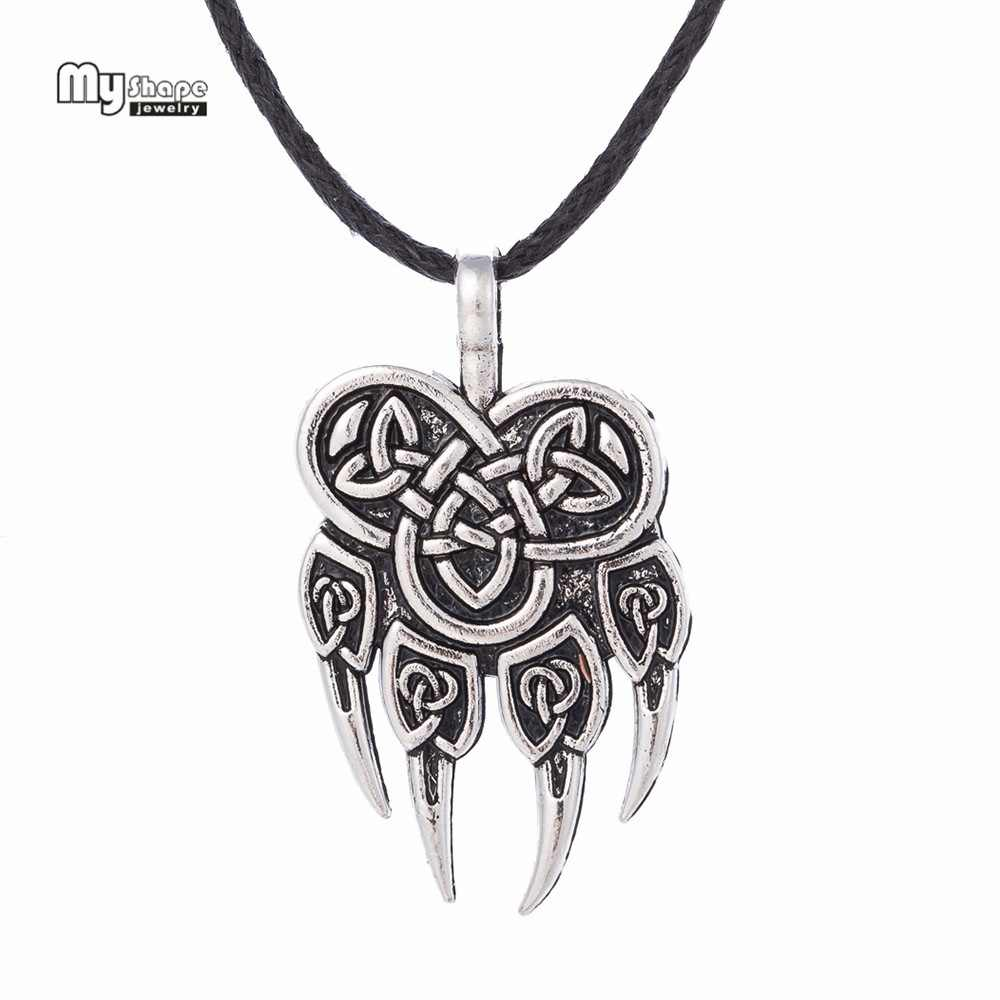 My Shape Viking Wolf Claws Pendant Necklaces Pendants Men Nordic Runes Viking Choker Bear Paw Charm Statement Necklace Women