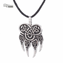 My Shape Viking Wolf Claws Pendant Necklaces Pendants Men Nordic Runes Choker Bear Paw Charm Statement Necklace Women