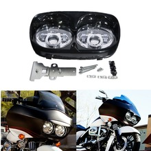 купить Black Chrome 5.75 Dual LED Headlight Projector Headlamp Lamp For Harley Road Glide FLTR 1998-2013 дешево
