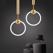 D 20CM/30CM Post Modern Gold Ring Pendant Light 25W 32W Electroplate Metal LED Round Hanging Lamp for Living Room Bar Home Light