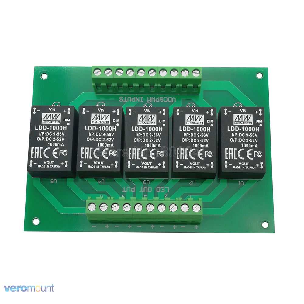 Meanwell LDD1000H DC DC Constant Current Step Down 5 Channel LED Driver PCB Board For DIY
