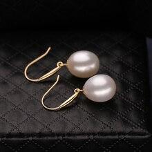 FENASY 18k gold earrings pearl jewelry, Antiallergic 18K Real Gold drop earrings For Women 2017 New Fashion long earrings