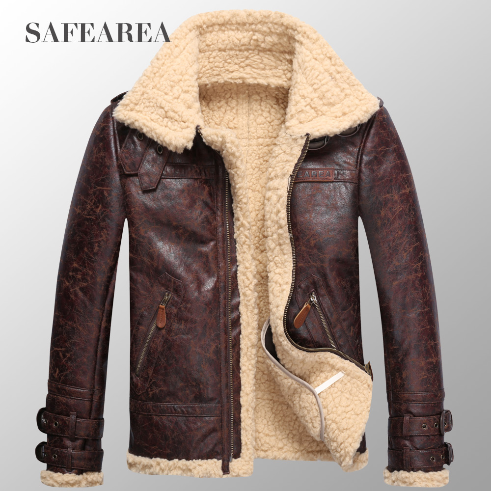 2017 Men's clothingmen's leather jacket thickening fur plus velvet one piece leather coat men winter warm outerwear overcoat