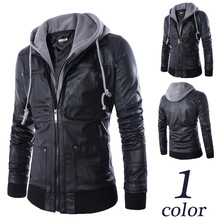 2019 new European style mens hooded fake two-piece locomotive leather clothing trend hip-hop jacket