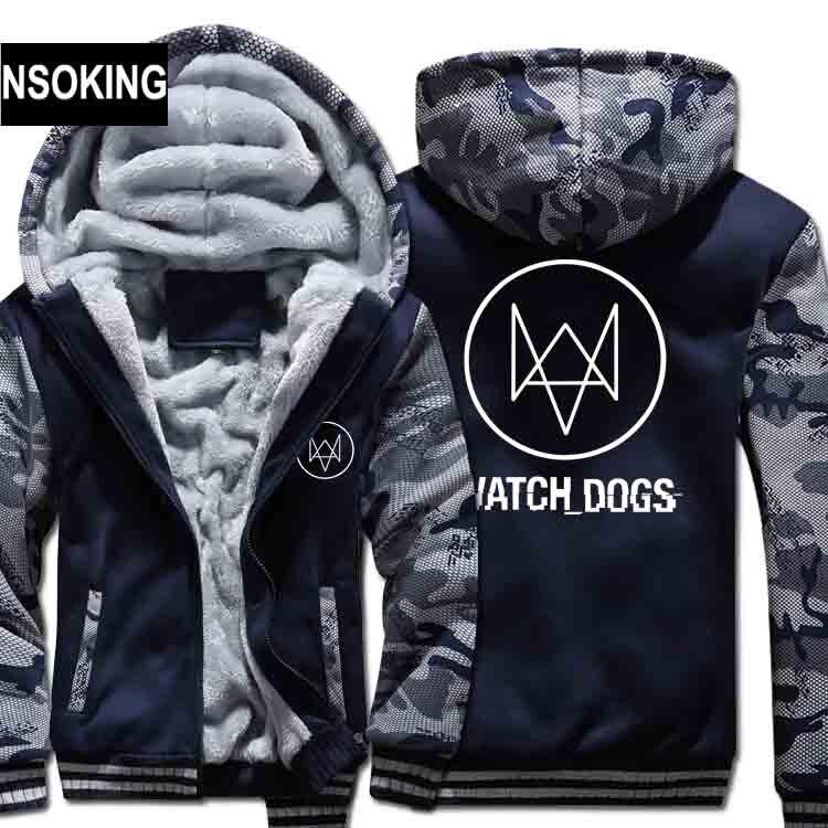 Новые зимние теплые сторожевой Толстовки аниме Эйден Пирс пальто с капюшоном Watch Dogs толстые молния мужчины кардиган куртка толстовка