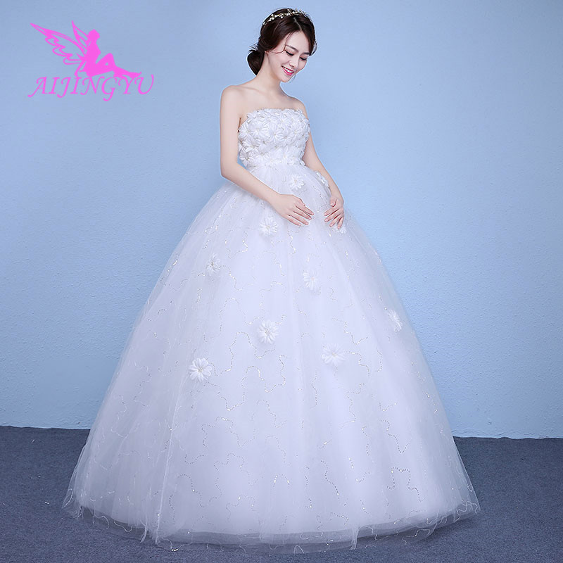 AIJINGYU 2018 Flower Free Shipping New Hot Selling Cheap Ball Gown Lace Up Back Formal Bride Dresses Wedding Dress WK148