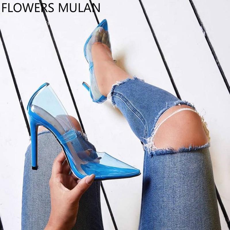 2018 Estate Nuova Sfilata di Moda Punta a punta IN PVC Trasparente Superiore High Heels Scarpe Donna Slip On Tacchi A Spillo Zapatillas Mujer