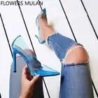 2018 Estate Nuova Sfilata di Moda Punta a punta IN PVC Trasparente Superiore High Heels Scarpe Donna Slip On Tacchi A Spillo Zapatillas Mujer - 1