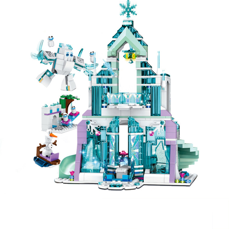 цены Lepin 25002 Snow World Series The Elsa`s Magical Ice Castle Set Building Blocks Bricks Legoed 41148 Toys Girl Friends Block Toys