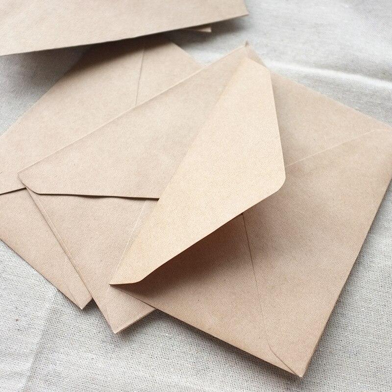 50 unidades/juego de mini Sobres de papel Kraft en blanco y marrón Vintage, sobre de invitación de boda/sobre de REGALO/3 colores