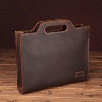 Male Bag Men's Vintage Real Crazy Horse Leather Briefcase Messenger Shoulder Portfolio Laptop Shoulder Bag Case Office Handbag