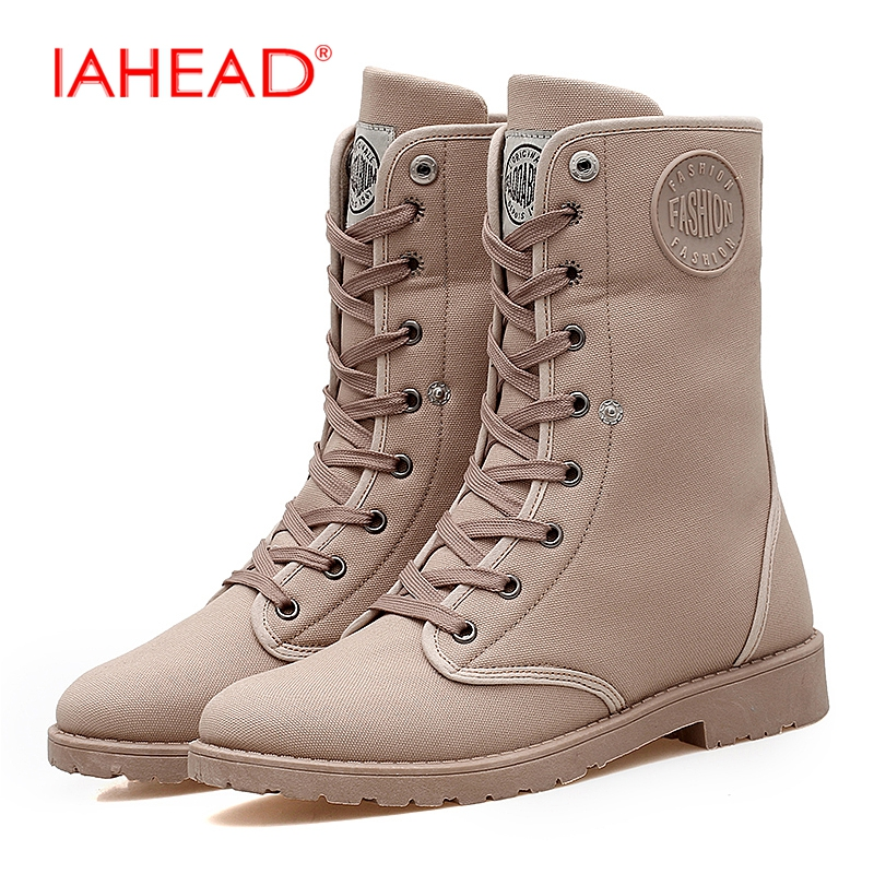IAHEAD Men Boots Ankle Canvas Shoes Men Flats Lace-Up Winter Warm Snow Boots Work Boots botines hombre MH531