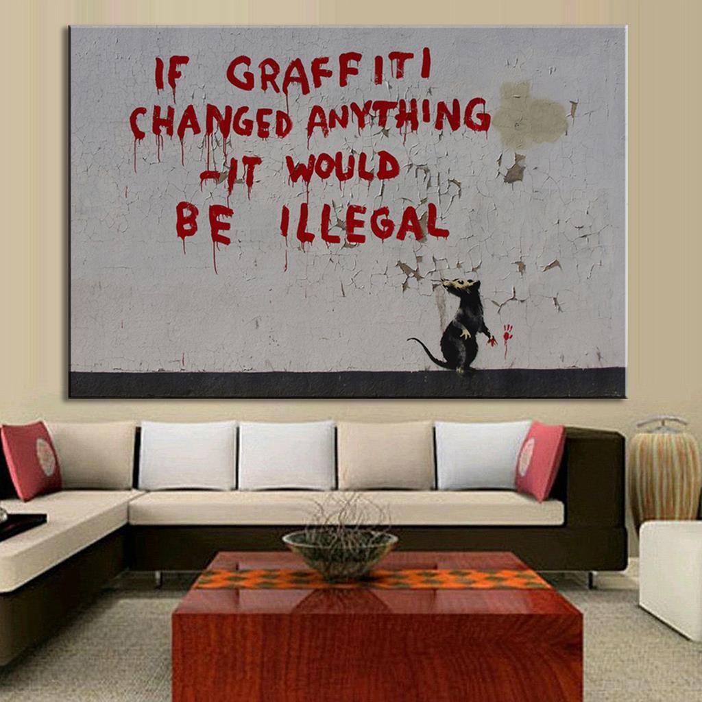 Graffiti art home decor - Banksy Art If Graffiti Changed Anything Canvas Prints Canvas Large Canvas Art Cheap Home Decor