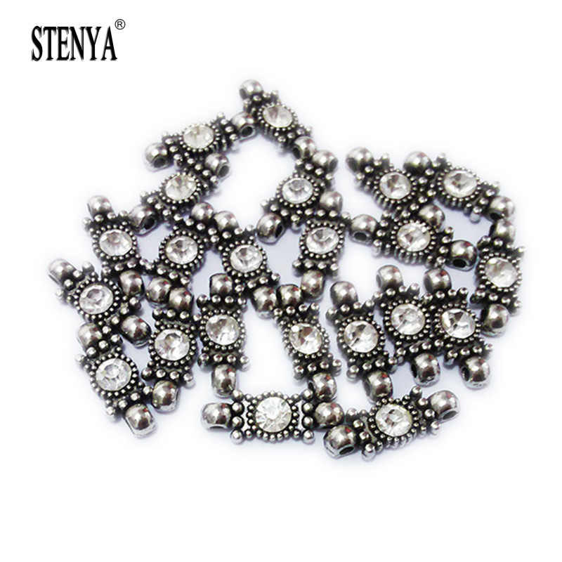 antique silver Rhinestone inlaid beads double loop watches strap watch  jewelry findings bracelets earrings neckles accessoris