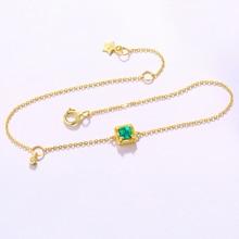 ANI 14K Yellow Gold Women Bracelet Natural Emerald Fine Gemstone Jewelry for Women Romantic Birthday Engagement Bracelet Gift chic rhinestone faux gemstone bracelet for women