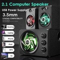 Multimedia 2.1 Desktop Computer Speaker LED Light Heavy Bass Subwoofer USB Power Supply For PC Laptop Cellphone