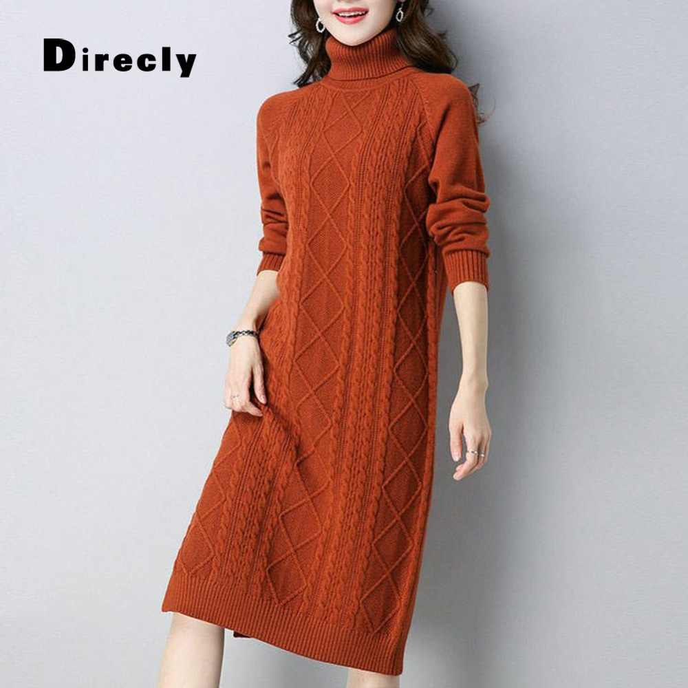 Direcly2018 new sweater ladies casual loose high collar slim long dress autumn and winter fashion pullover sweater female models