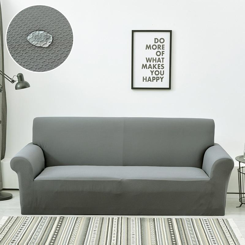 Housse de canapé universelle élastique tout compris Fluff imperméable à l'eau housse de canapé de forme différente canapé couleur unie housse d'accoudoir