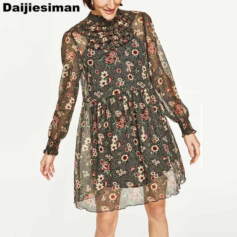 Vintage coloré fleur imprimé Floral poitrine en cascade à volants à manches longues col montant plissé Mini robe Vestidos marque femmes
