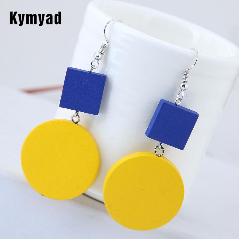 Kymyad Yellow Blue Earrings For Women Bohemian Boho Vintage Drop Earrings Female Fashion Jewelry Wood Circular Simple Earrings