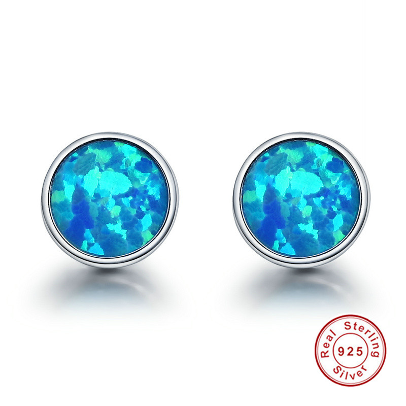 925 Sterling Silver Round Stone Unique Blue Fire Opal Stud Earrings Women Jewelry wzsm wholesale new lcd flex video cable for lenovo e46 e46a e46l e46g k46a laptop cable