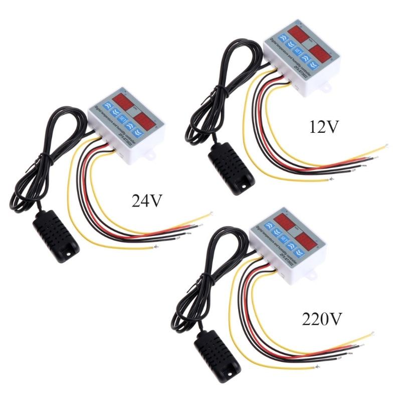 220V 24V 12V 2 in 1 Digital Temperature Humidity Controller Thermostat w Sensor %328&313 цена