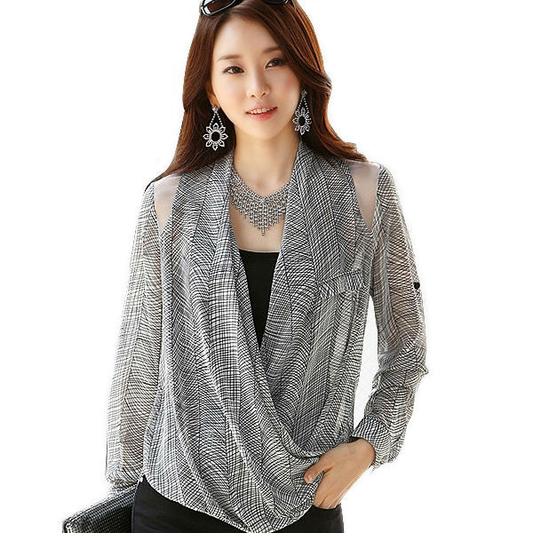 bac8673533 Mujeres tops camisa a cuadros de las mujeres con cuello en v blusas de manga  larga