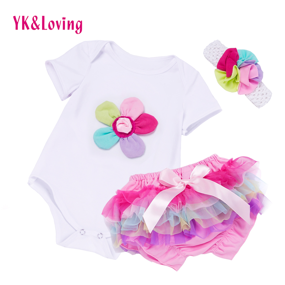 New Summer Baby Girl Clothing Sets Cotton Rainbow Flower Short Sleeve Rompers And Ruffle Bloomers Newborn Infant Girls Clothes newest 2016 summer baby rompers clothing short sleeve 100