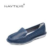 NAYTILYE Новая обувь Летние удобные кожаные туфли на плоской подошве Большие размеры