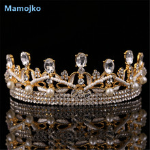 Mamojko Wedding Fashion Jewelry Baroque Crystal Crown Princess Hair Ornaments Charm Woman Bride Wedding Beads Hair Accessory