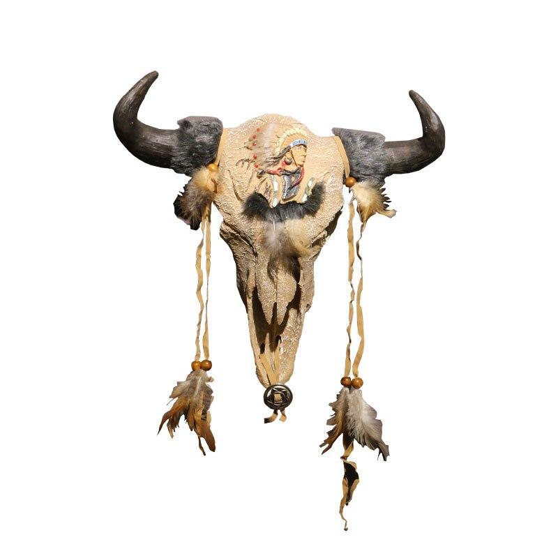 American vintage Ox head wall decoration resin home decoration Ox skull Indian Dream catcher miniature figurines retro animals