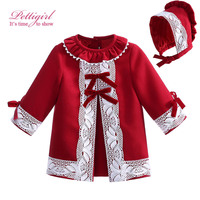 Pettigirl Christmas Red Girl Dress With Lace And bonnet Lofus Leaf Collar Cute Bontique Kids Clothing G-DMGD908-1009