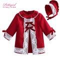 Pettigirl natal vestido vermelho da menina com rendas e bonnet lofus folha collar bonito bontique kids clothing g-dmgd908-1009