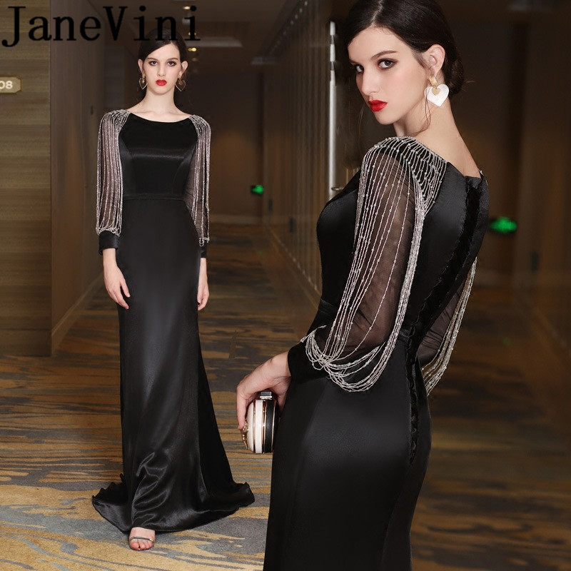 JaneVini 2018 Sexy Noir Long Mère de la Mariée Robes sirène Manches Longues Perlé Robe de Soirée En Satin Balayage Train Lange Jurk